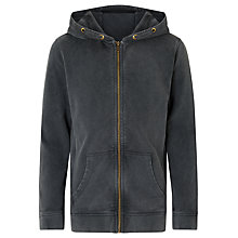 Buy John Lewis Boys' Acid Wash Zip Hoodie, Grey Online at johnlewis.com