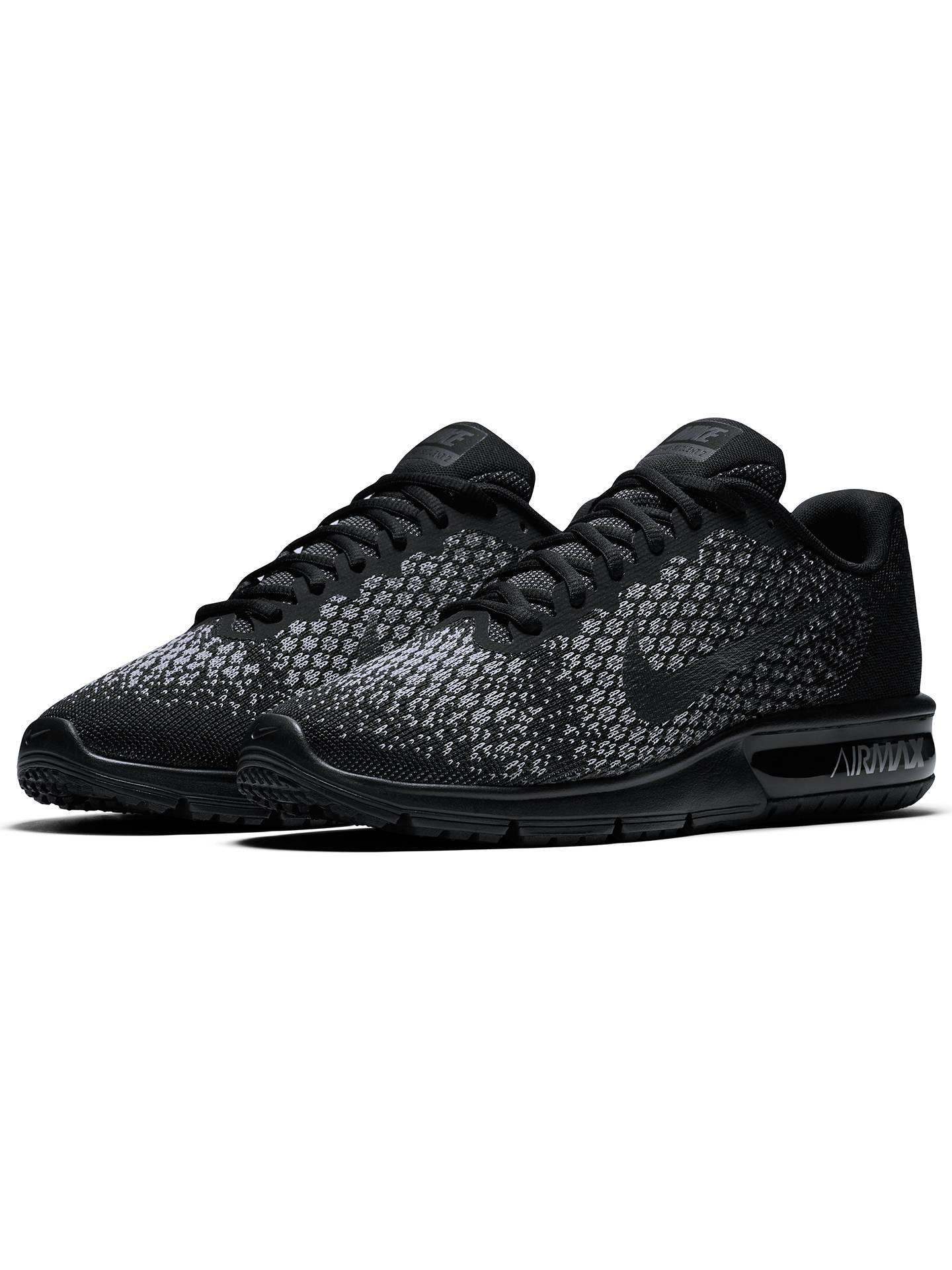 Estándar Inspirar patrulla  Nike Air Max Sequent 2 Men's Running Shoes, Black/Wolf Grey at John Lewis &  Partners