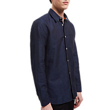 Buy Jaeger Cotton Linen Regular Fit Shirt, Navy Online at johnlewis.com