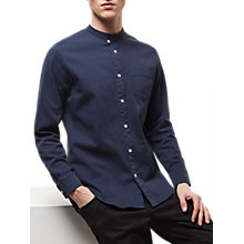 Buy Jaeger Broken Stripe Grandad Shirt, Navy Online at johnlewis.com