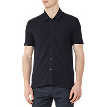 Buy Reiss Albert Textured Cotton Short Sleeve Shirt, Navy Online at johnlewis.com