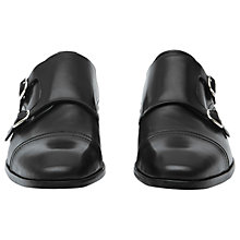 Buy Reiss Finn Leather Double Monk Strap Shoes, Black Online at johnlewis.com