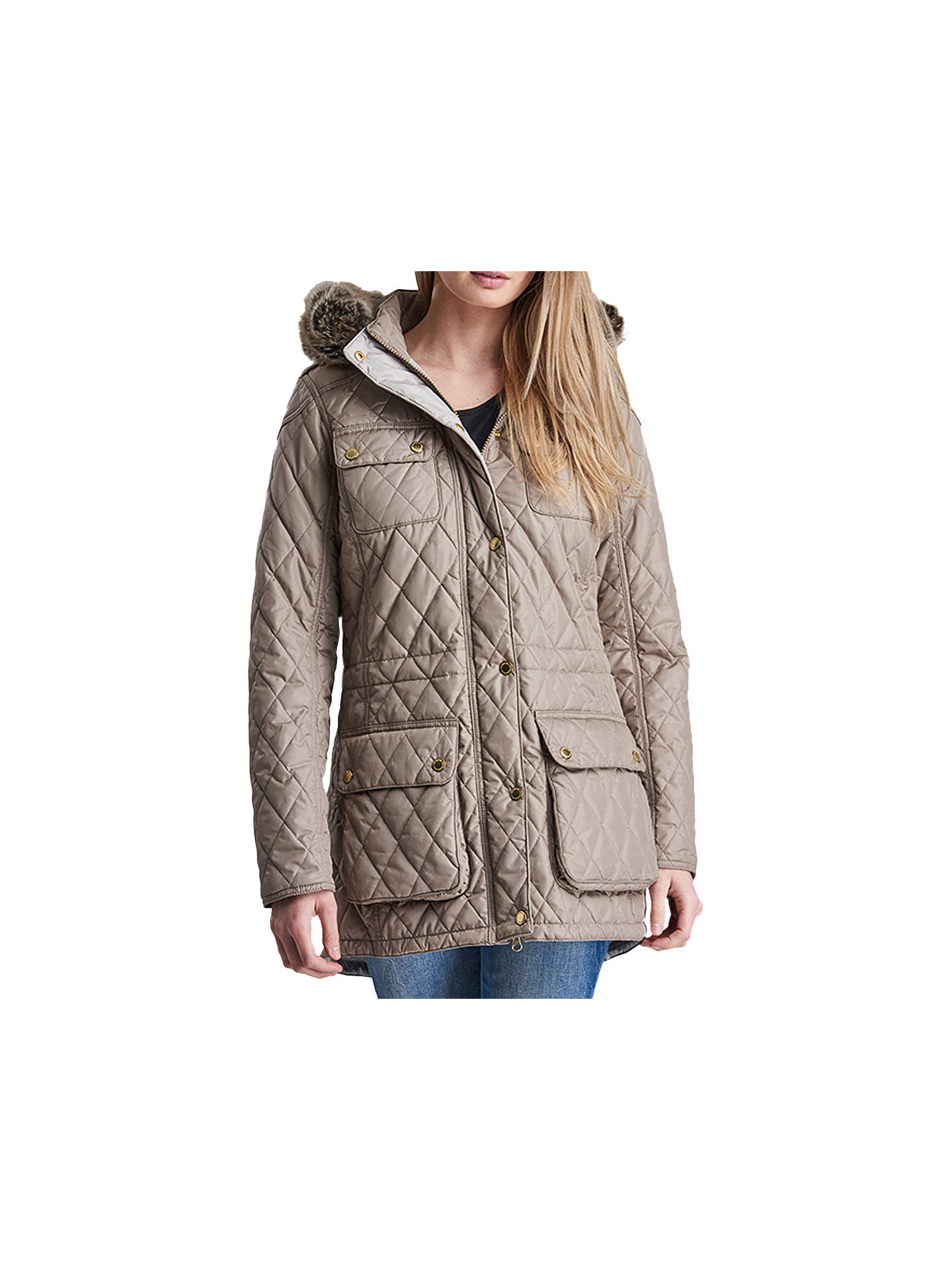 c830515c7 Buy Barbour International Enduro Quilted Jacket, Taupe, 18 Online at  johnlewis.com ...