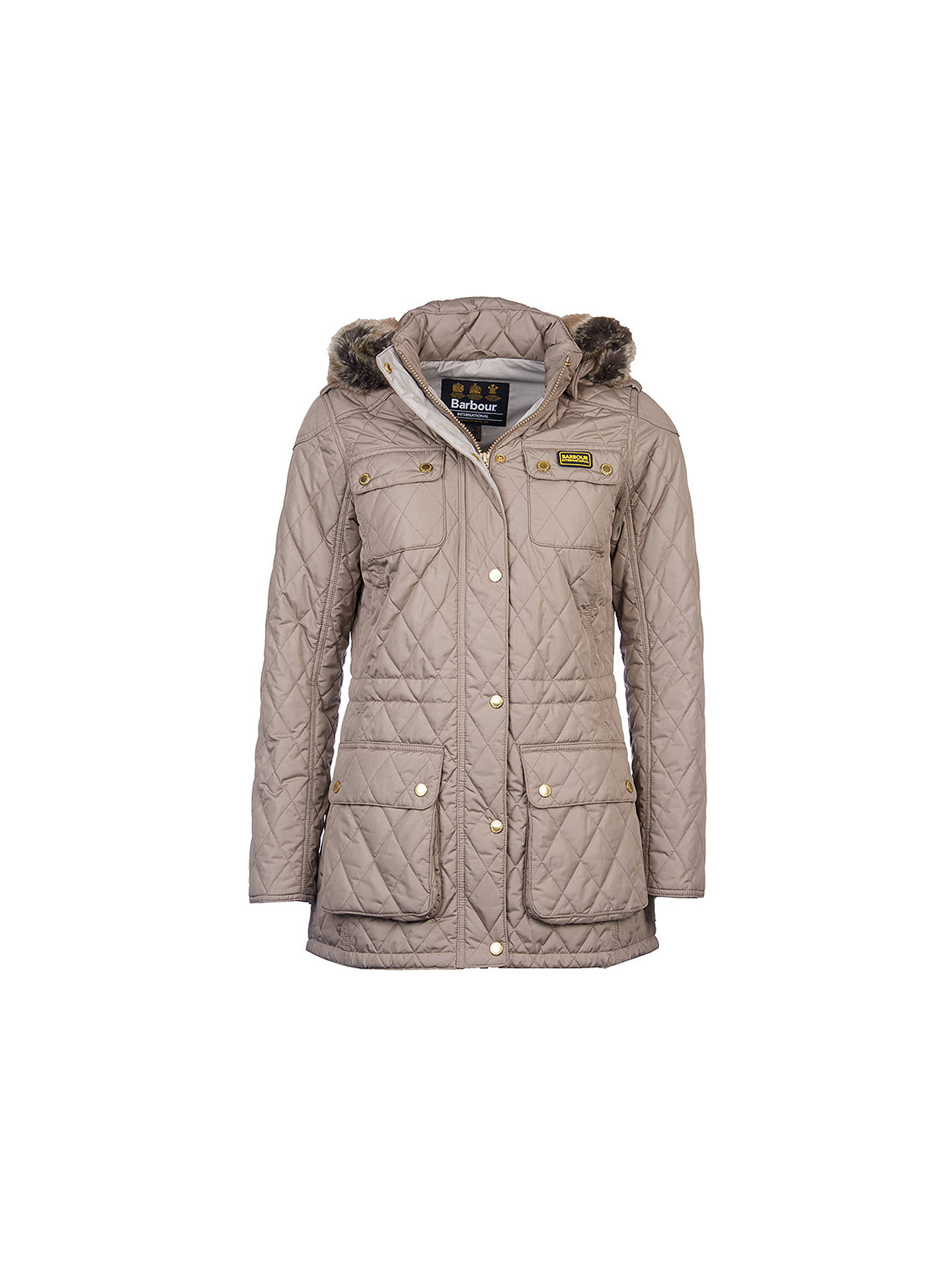 2195fef63 ... Buy Barbour International Enduro Quilted Jacket, Taupe, 18 Online at  johnlewis.com ...
