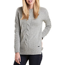 Buy Barbour Priory Cable Knit Jumper, Light Grey Marl Online at johnlewis.com