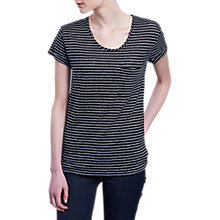 Buy Barbour Suliven Short Sleeve Stripe Top, Black/White Online at johnlewis.com