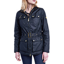 Buy Barbour International Heyford Wax Jacket, Black Online at johnlewis.com