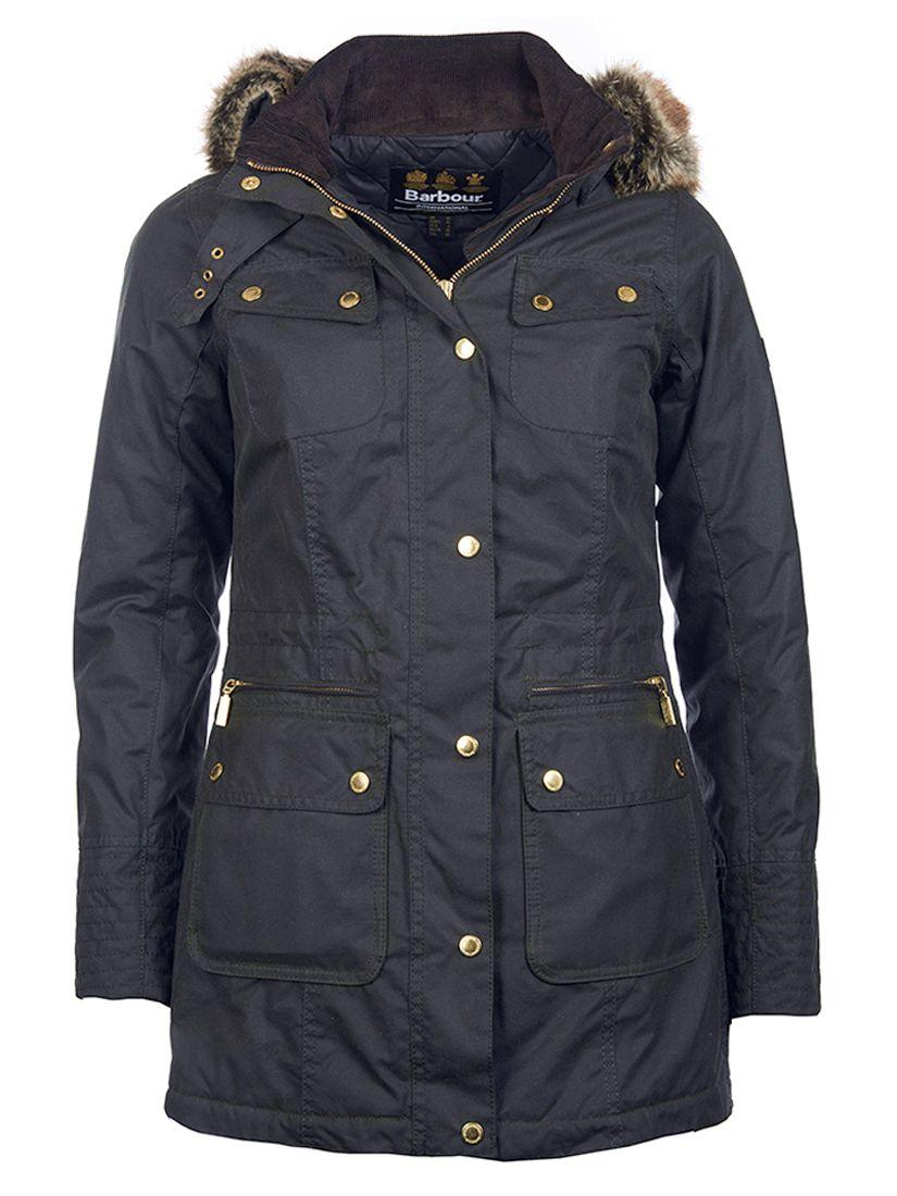 74bd391308852 Barbour International Mallory Wax Jacket, Sage at John Lewis & Partners