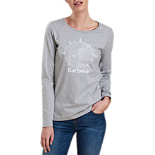 Buy Barbour Shipper Compass Print T-Shirt, Light Grey Marl Online at johnlewis.com
