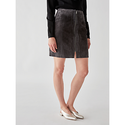 Numph Adalie Suede Leather Skirt, Iron Gate