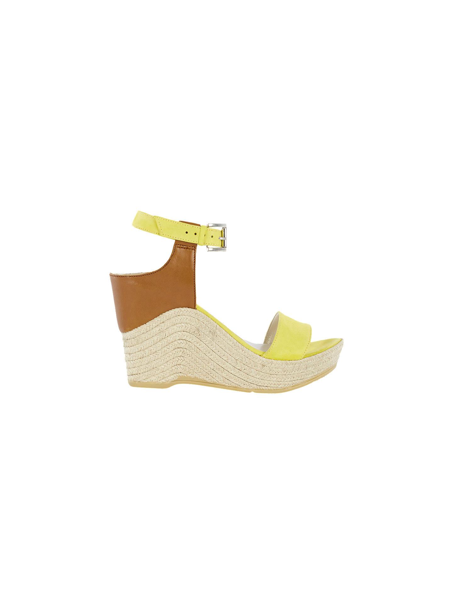8cefded32d1 Karen Millen Wedge Heeled Espadrille Sandals, Yellow at John Lewis ...