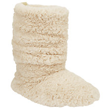 Buy John Lewis All Faux Fur Boot Slippers, Natural Online at johnlewis.com