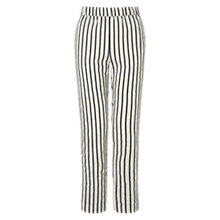 Buy Jigsaw Linen-Blend Stripe Trousers, White/Black Online at johnlewis.com