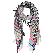 Buy French Connection Staggered Striped Cotton Scarf, Summer White/Multi Online at johnlewis.com