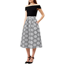 Buy Hobbs May Spotted Skirt, Black/Ivory Online at johnlewis.com