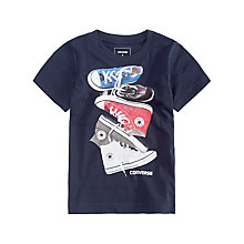 Buy Converse Boys' Chucks Stacked T-Shirt, Navy Online at johnlewis.com
