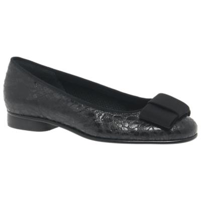 Gabor Assist Bow Ballet Pumps, Black Croc