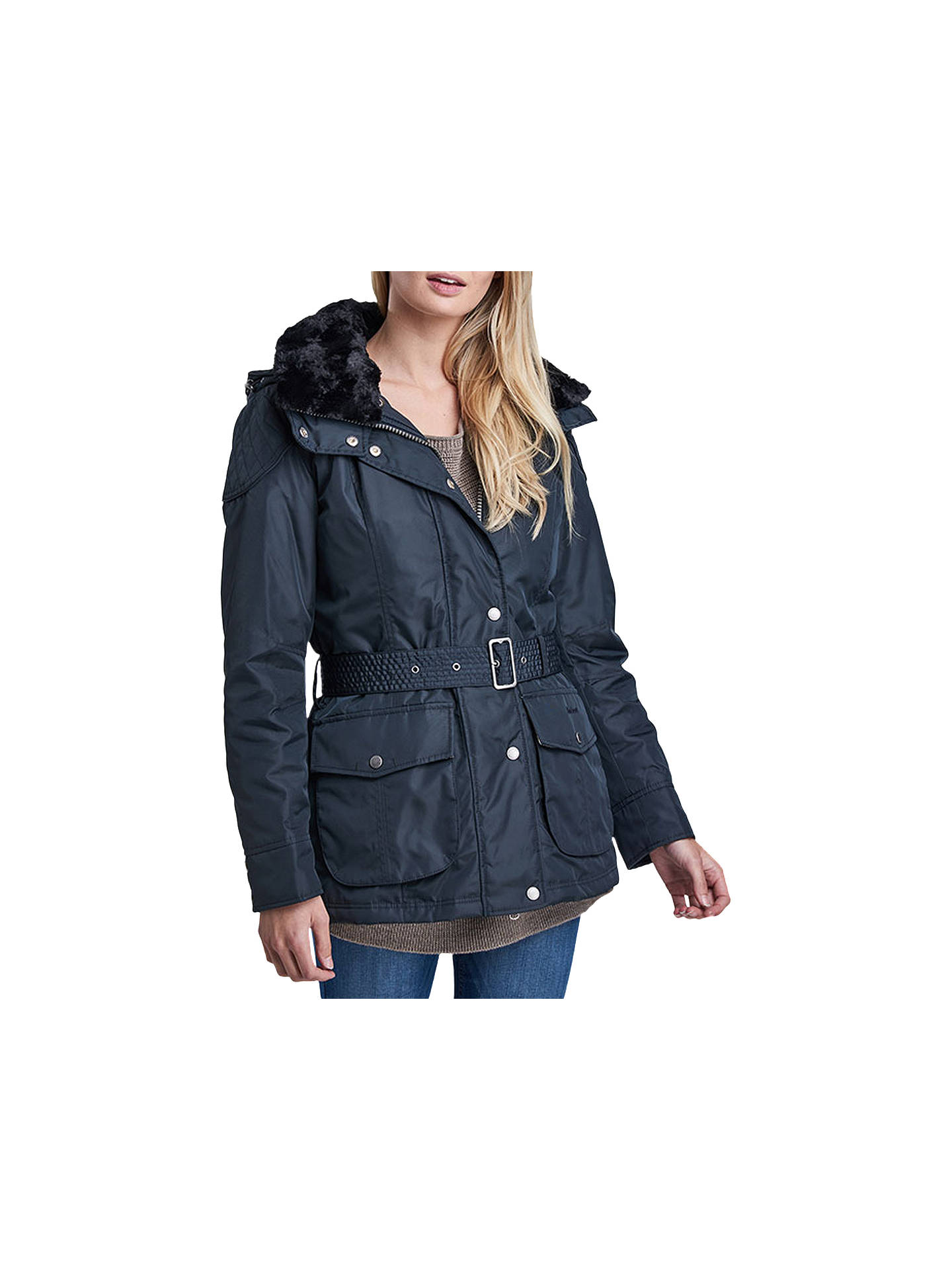 56abf8369 Barbour International Outlaw Hooded Jacket, Navy at John Lewis ...