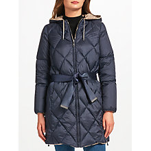 Buy Weekend MaxMara Oriele Quilted Longline Jacket, Navy/Sand Online at johnlewis.com
