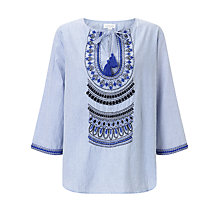 Buy Velvet by Graham & Spencer Mallory Embroidered Top, Blue Online at johnlewis.com