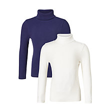 Buy John Lewis Girls' Rib Turtle Neck Jumper, Pack of 2, Medieval Blue/White Online at johnlewis.com