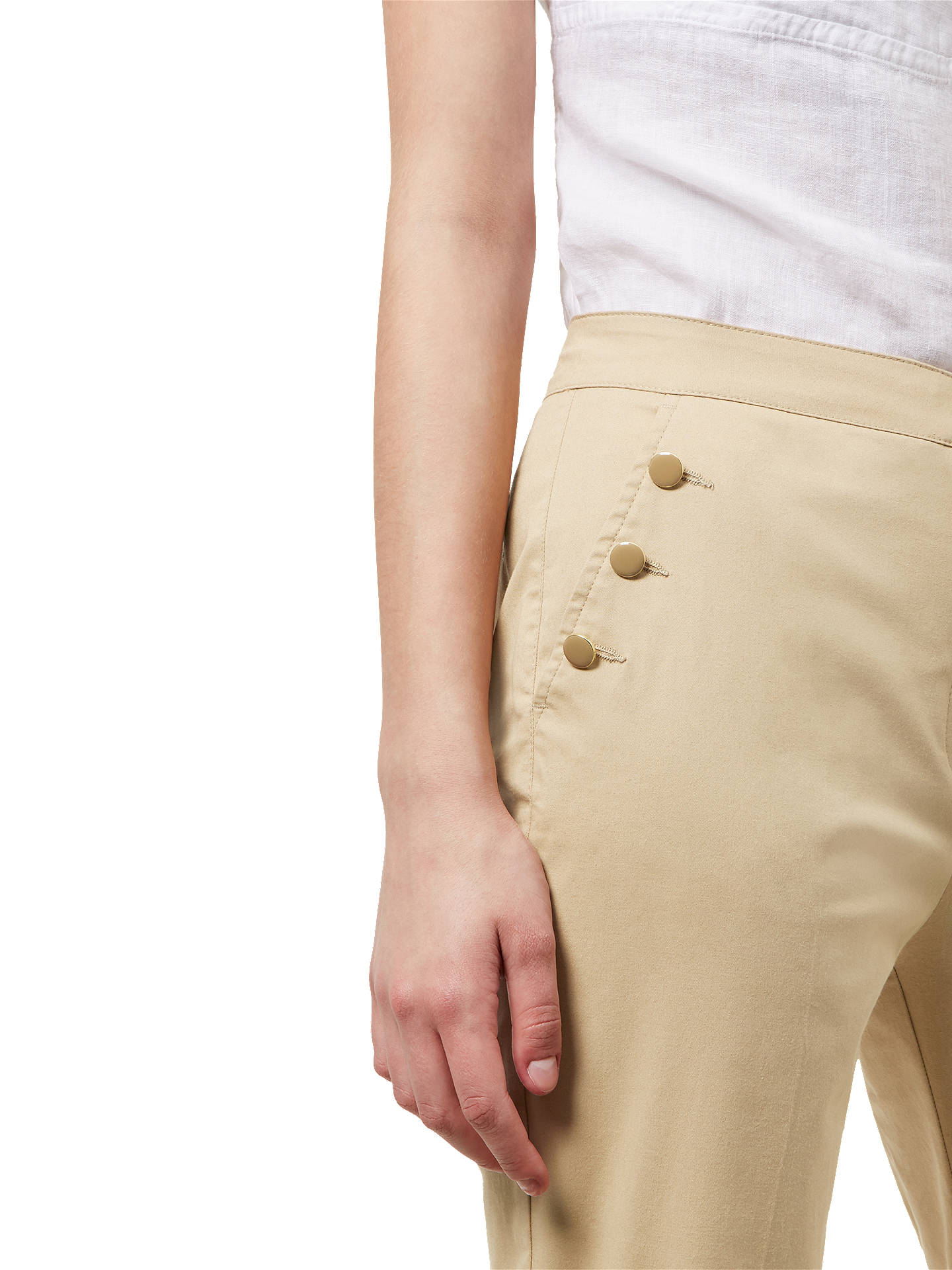 BuyJaeger Enamel Button Chinos, Stone, 6 Online at johnlewis.com