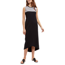 Buy Jaeger Jersey Striped Yoke Dress, Black/White Online at johnlewis.com