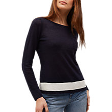 Buy Jaeger Block Stripe Linen Sweater, Navy/Ivory Online at johnlewis.com