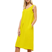 Buy Jaeger Pleat Detail Midi Dress, Yellow Online at johnlewis.com