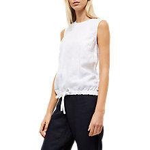 Buy Jaeger Linen Paper Bag Top, White Online at johnlewis.com