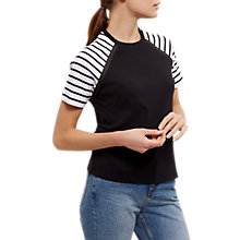 Buy Jaeger Striped Sleeve Jersey T-Shirt, Black/White Online at johnlewis.com