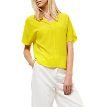 Buy Jaeger Silk V-Neck Tuck Detail Top, Yellow Online at johnlewis.com