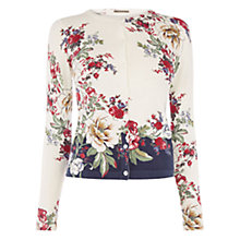 Buy Oasis Bonnie Placement Floral Print Cardigan, Off White Online at johnlewis.com