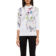 Buy Ted Baker Kikka Passion Flower Cotton Collared Jumper, Ivory Online at johnlewis.com