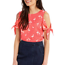 Buy Oasis Flamingo Tie-Sleeve Top, Multi Red Online at johnlewis.com