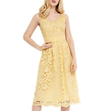 Buy Oasis Lace V-Neck Skater Dress, Pale Yellow Online at johnlewis.com