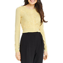 Buy Oasis Lace Front Cardigan, Pale Yellow Online at johnlewis.com