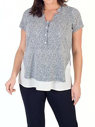 Chesca Stand Collar Print Top, Ivory/Navy