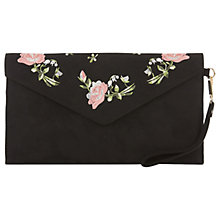Buy Oasis Rose Embroidered Clutch Bag, Black Online at johnlewis.com