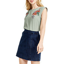 Buy Oasis Embroidered Floral T-Shirt, Khaki Online at johnlewis.com