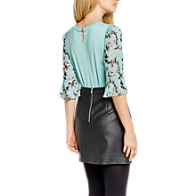 Buy Oasis Lotus Flute Sleeve Knit Top, Teal Green Online at johnlewis.com