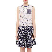 Buy Ted Baker Colour By Numbers Mural Pencil Print Drop Waist Dress, Nude Pink Online at johnlewis.com