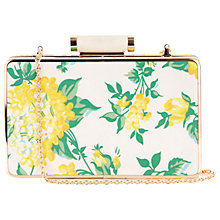 Buy Oasis Blossom Print Box Clutch Bag, Mid Yellow Online at johnlewis.com