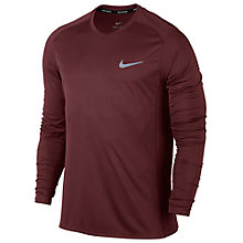 Buy Nike Dry Miler Running Top, Red Online at johnlewis.com
