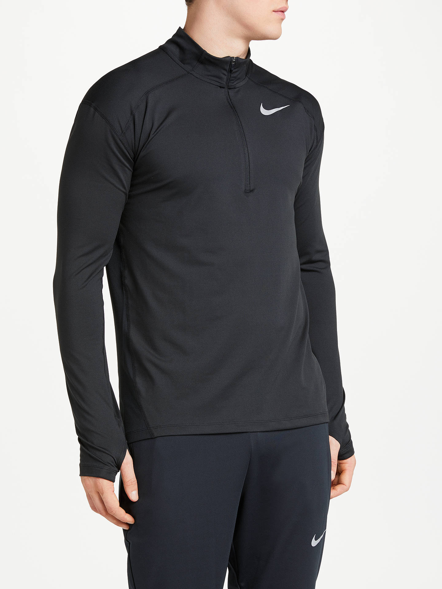 big sale f979a 80c9d Buy Nike Dry Element Long Sleeve 1 2 Zip Running Top, Black, S ...
