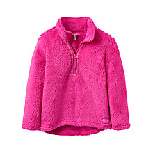 Buy Little Joule Girls' Fluffy Half Zip Fleece, Pink Online at johnlewis.com