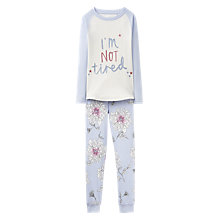 Buy Little Joule Children's I'm Not Tired Pyjamas, Sky Blue Online at johnlewis.com