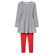 Buy Little Joule Girls' Iona Striped Dress and Leggings Set, Navy/Red Online at johnlewis.com
