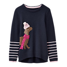 Buy Little Joule Girls' Dog Intarsia Knitted Jumper, Navy Online at johnlewis.com