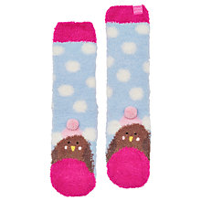 Buy Little Joule Children's Fluffy Robin Socks, Sky Blue Online at johnlewis.com